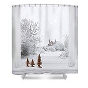 Winter Window Shower Curtain