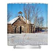 Winter Wisconsin Barn Shower Curtain