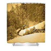 Winter Wonderland In Switzerland - Up The Hills Shower Curtain