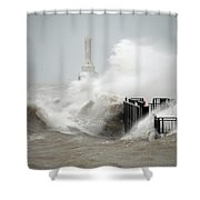 Winters Fury In Port Shower Curtain