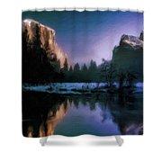 Winters Lake Shower Curtain