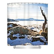 Winter's Silence - Pathfinder Reservoir - Wyoming Shower Curtain