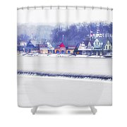 Wintertime At The Fairmount Dam And Boathouse Row Shower Curtain
