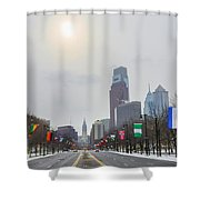 Wintertime - Benjamin Franklin Parkway Shower Curtain