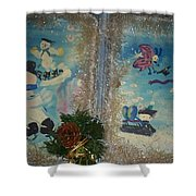 Wintertime Fun With Friends Shower Curtain
