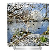 Wintry River At Newton Road Park Shower Curtain