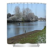 Wintry River At Stapenhill Shower Curtain