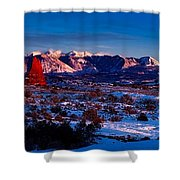 Wintry Sunset Glow  Shower Curtain