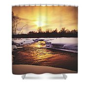 Wintry Sunset Reflections Shower Curtain
