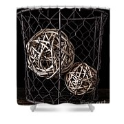 Wire Basket And Balls Still Life Shower Curtain