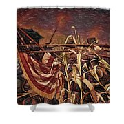 Wisconsin Black Hats At Antietam - Colored Pencil Shower Curtain