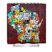 Wisconsin Counties Vintage Recycled License Plate Map Art On Red Barn Wood Shower Curtain