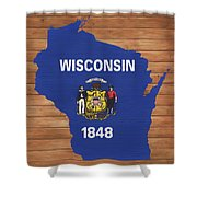 Wisconsin Rustic Map On Wood Shower Curtain