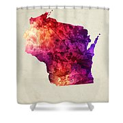 Wisconsin State Map 05 Shower Curtain