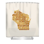 Wisconsin State Outline Word Map Shower Curtain