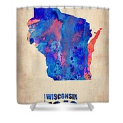 Wisconsin Watercolor Map Shower Curtain by Naxart Studio