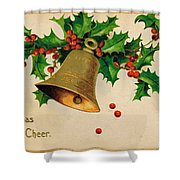 Wishing You Christmas Cheer Vintage Greetings Card Shower Curtain