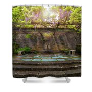 Wisteria Blooming On Trellis At Garden Patio Shower Curtain