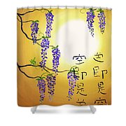 Wisteria With Heart Sutra Shower Curtain