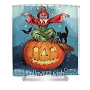 Witch In A Big Pumpkin Shower Curtain