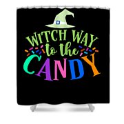 Witch Way To The Candy Halloween Funny Humor Colorful Shower Curtain