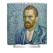 With A Handshake - Your Loving Vincent Shower Curtain