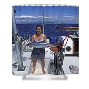With A Spanish Mackerel Walu Caught Shower Curtain