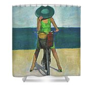 With Bike On The Beach Shower Curtain