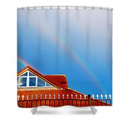With Double Bless Of Rainbow Shower Curtain by Jenny Rainbow