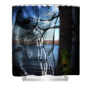 With The Back To The Sea  Shower Curtain