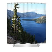 Wizard Island On Crater Lake Shower Curtain