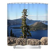 Wizard Island With Rock Fence At Crater Lake Shower Curtain