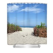 Wladyslawowo White Sand Beach At Baltic Sea Shower Curtain