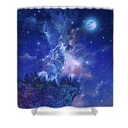 Wolf And Sky Blue 2 Shower Curtain
