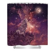 Wolf And Sky Red Shower Curtain