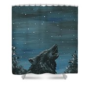 Wolf And The Stars Shower Curtain