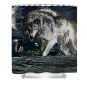 Wolf At Night Shower Curtain