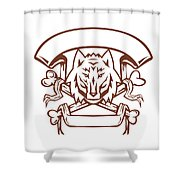 Wolf Cross Bones Banner Retro Shower Curtain