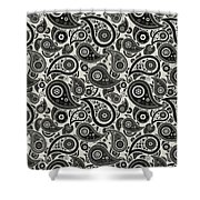 Wolf Gray Paisley Design Shower Curtain