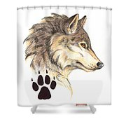Wolf Head Profile Shower Curtain