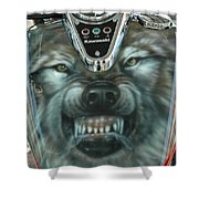 Wolf Motorcycle Gas Tank Shower Curtain