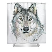 Wolf Shower Curtain by Olga Shvartsur