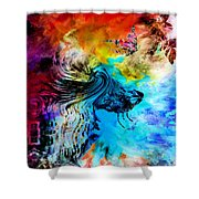 Wolf Playing With Butterflies Shower Curtain