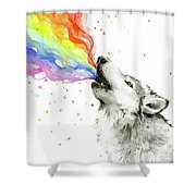 Wolf Rainbow Watercolor Shower Curtain
