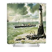 Wolf Rock Lighthouse At Land's End Shower Curtain