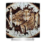 Wolves In Hiding Shower Curtain
