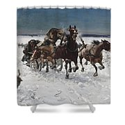 Wolves In Pursuit By Alfred Wierusz-kowalski 1849-1915 Shower Curtain