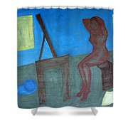 Woman After Bathing Shower Curtain