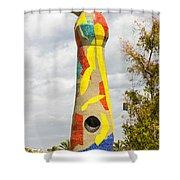 Woman And Bird Statue - Barcelona Spain Shower Curtain
