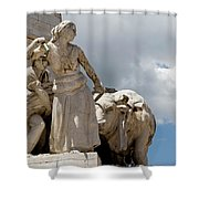 Woman And Bull, Marquis De Pombal Monument Shower Curtain
